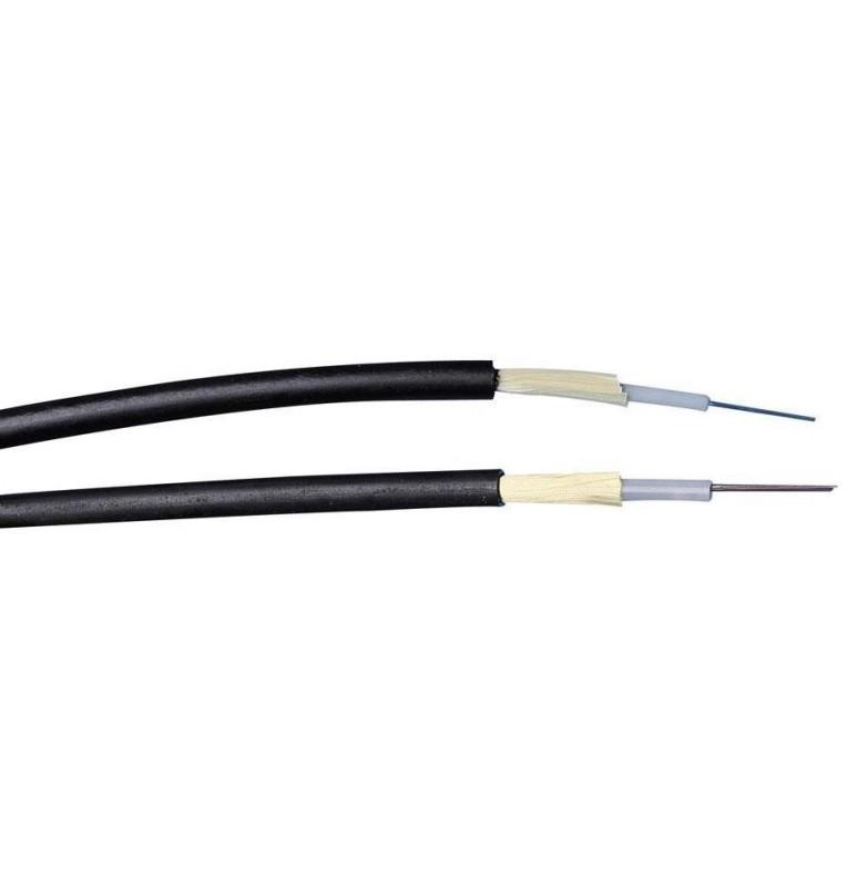 Cable fibra óptica int/ext monomodo 9/125 OS2. Armadura dieléctrica, cubierta LSZH color Negro