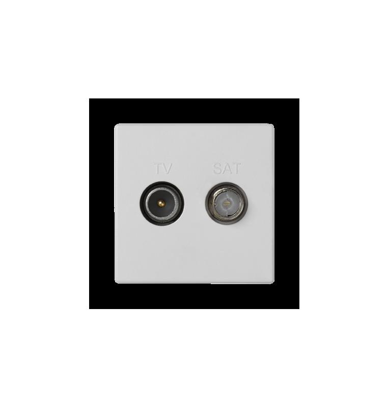 Placa K45 con toma TV macho + SAT hembra única CEI, conexión mediante tornillo.