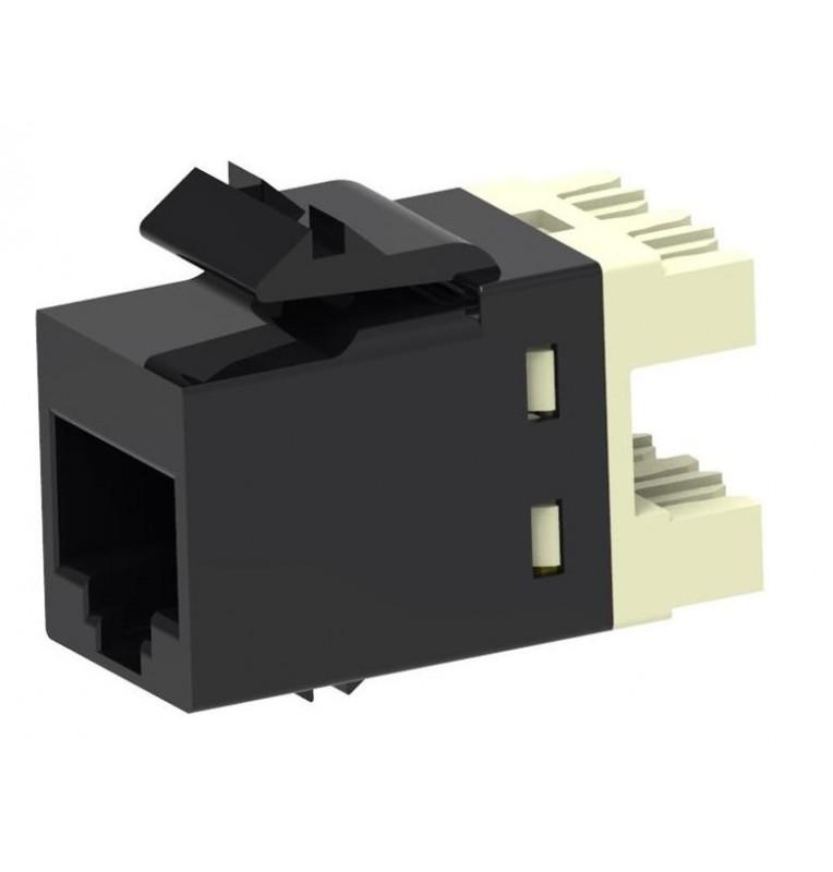 Toma hembra RJ45 Categoría 6A UTP SL10G. Color negro. Commscope/AMP