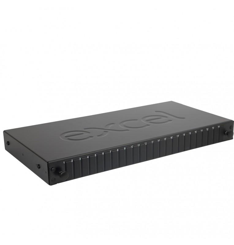 """Caja empalme FO rack 19"""" 1UA vacía para 24 adaptadores SC's DUPLEX / LC QUAD. Excel"""