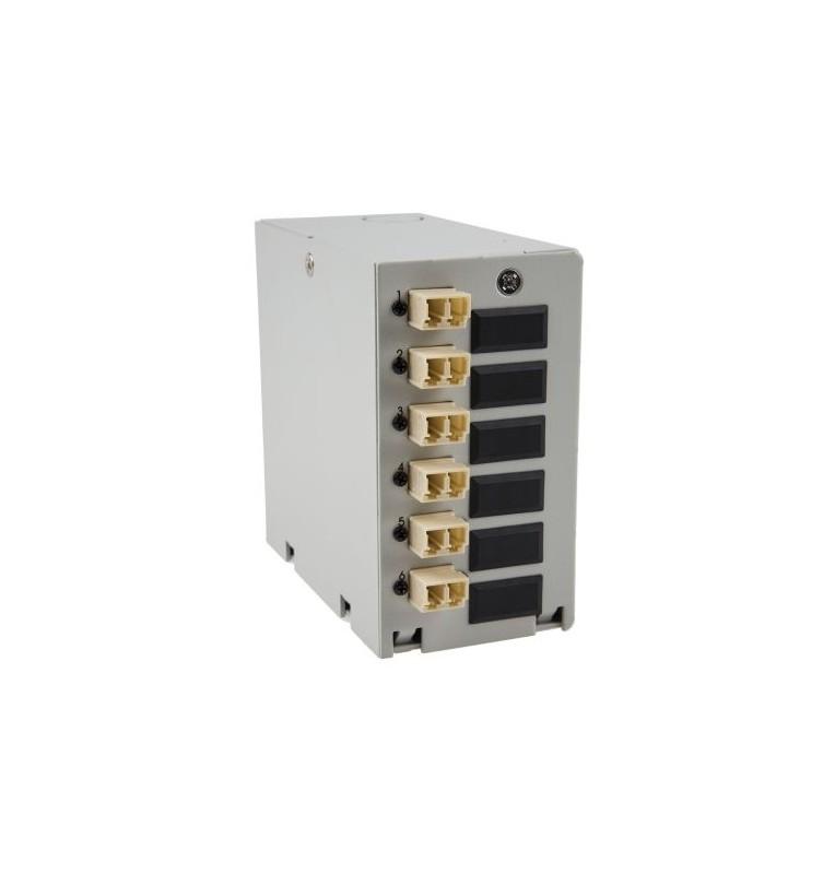 Caja DIN terminal de fibra óptica con 6 adaptadores LC Dúplex Multimodo