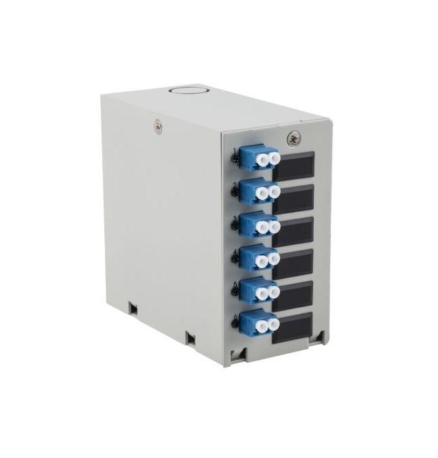 Caja DIN terminal de fibra óptica con 6 adaptadores LC Dúplex MONOMODO
