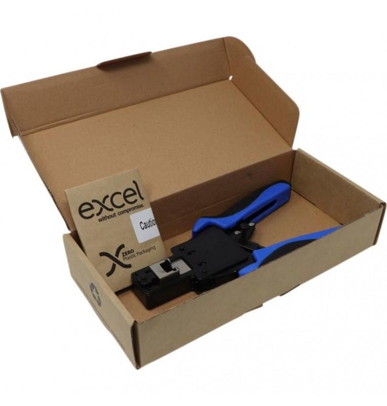 Crimpadora para conector RJ45 macho UTP de montaje rápido hilo pasante Excel