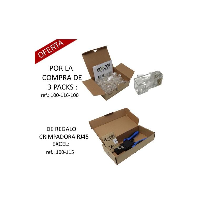 Pack Promo : Por la compra de 3 Packs ref.: 100-116-100, regalo de 1 crimpadora Excel RJ45 UTP.