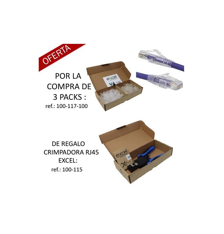 Pack Promo : Por la compra de 3 Packs ref.: 100-117-100 regalo de una crimpadora Excel RJ45 UTP.