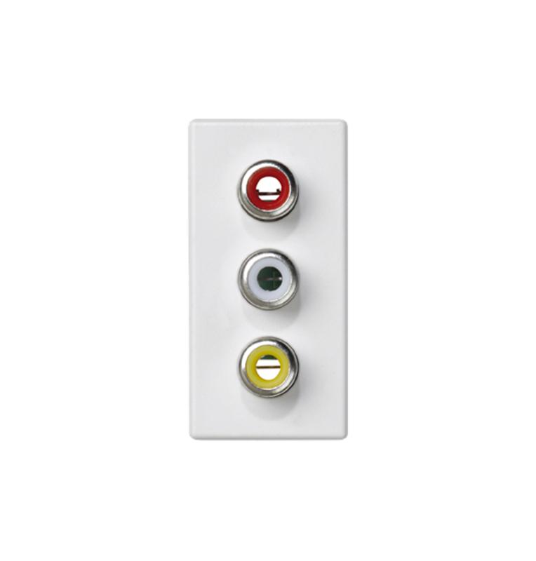 Placa K45 1/2 mecanismo con 3 conectores RCA Audio, conexión mediante tornillo blanca