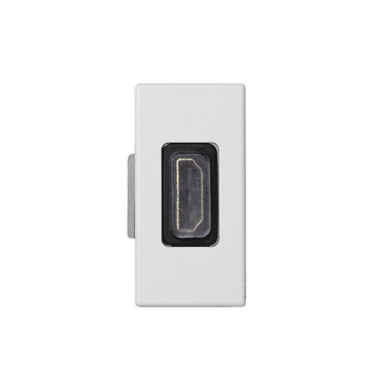 Placa K45 1/2 mecanísmo con 1 conector HDMI conexión hembra-hembra blanca
